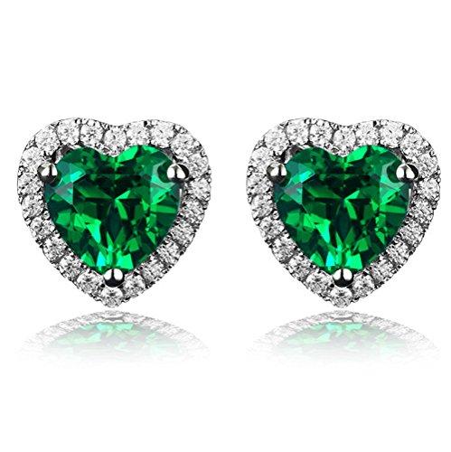 Navachi, orecchini in argento Sterling 925placcato in oro bianco 18 carati, a forma di cuore con rubino da 4,5 carati e Placcato oro, colore: Green, cod. SIL-9131-2