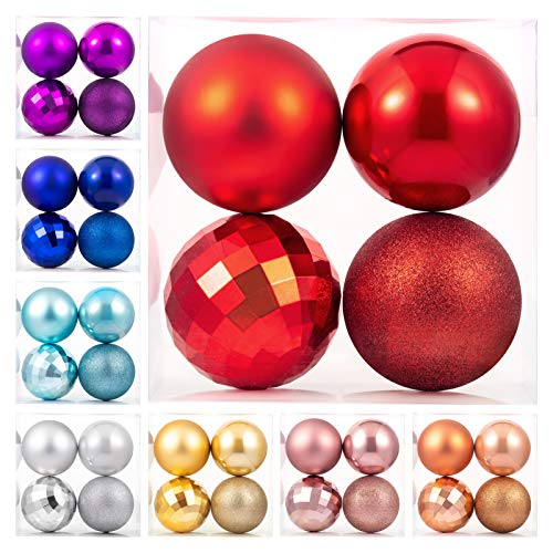 """Christmas Ball Ornaments Red Giant Shatterproof Plastic Decorative Hanging Mercury Ballfor Holiday Party Decorations Set of 4,(10cm-4"""")"""