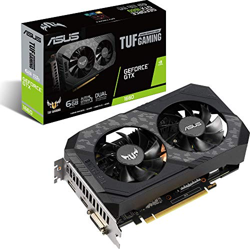 ASUS NVIDIA GeForce GTX 1660 TUF 6G Gaming Grafikkarte (PCIe 3.0, 6GB DDR5 Speicher, HDMI, DVI, Displayport)