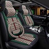 Car Seat Covers Set Moda fundas de los asientos de cuero cómodo para autos 5 asientos, nuevo párrafo 8 piezas cubiertas de asientos conjunto soporte lumbar fijo almohadilla del asiento de coche,Oro