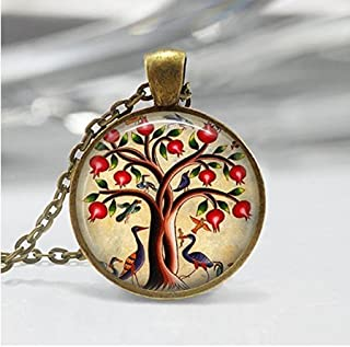 Tree of Life Necklace Bird Jewelry Pomegranate Fruit Tree Nature Art Pendant in Bronze or Silver with Link Chain Included