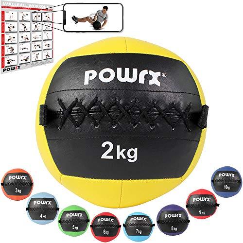 POWRX Wall ball Balón medicinal 2 kg - Ideal para ejercicios de »Functional Fitness«, fortalecimiento y tonificación muscular - Agarre antideslizante + PDF workout (Amarillo)