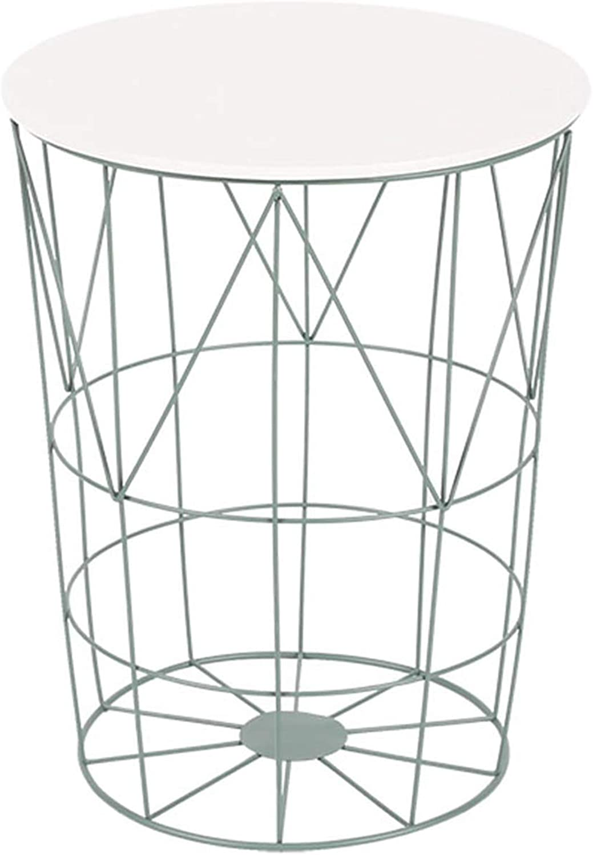 Coffee Table Side Table Storage Basket, Simple Small Wrought Iron Hollow Storage Modern, Wrought Iron Bracket, White Panel Optional (38 × 38 × 48.5 cm)