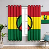 "❤ You will find two 31.5""wide x 72"" long curtain panel in package. The design of silver grommet (1.6-inch inner diameter) creates casual elegance for your house, which makes the curtains easy to install and slide. ❤ Printed pattern - jamaican,reggae ..."