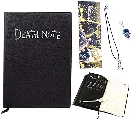 Cuaderno de notas de la muerte con pluma de pluma, collar y llavero en forma de L, tema de anime de moda, cuaderno de cosplay