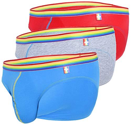 Andrew Christian Herren Slip 3er Pack Boy Brief Unicorn 3-Pack 91184, Mehrfarbig L