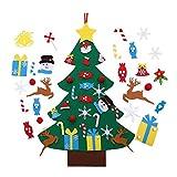 Zueyen �rbol de Navidad de fieltro, 3.3 pies de pared de Navidad para niños pequeños con 33 piezas de fieltro desmontables para colgar adornos de Navidad Año Nuevo Decoración del hogar