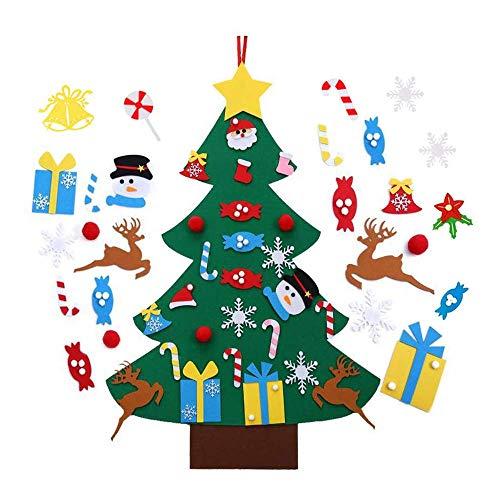 Zueyen Árbol de Navidad de fieltro, 3.3 pies de pared de Navidad para niños pequeños con 33 piezas de fieltro desmontables para colgar adornos de Navidad Año Nuevo Decoración del hogar