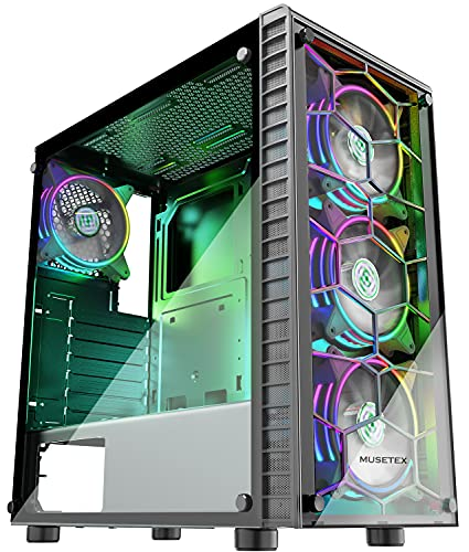 MUSETEX ATX Mid-Tower Chassis Gaming PC Case 4 RGB Fans Pre-Installed (Up to 6 Fans), 2 Translucent Tempered Glass USB 3.0 Cable Management/Airflow Gaming Style Windows Computer Case(G05S4)