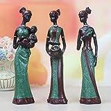 gshhd88 3pz. Africana Figura Scultura Tribale Lady Figurina Statua Soprammobile da Collezione Arte Oggetto, Resina Creazioni Regalo Scrivania Ornamento Casa Ufficio Decorativa - Verde, Free Size