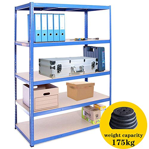 DANXY 180cm x 90cm x 40cm, blauw 5 Tier Brede metalen rekken (175KG per plank), 875KG Capaciteit Extra Diepe Garage Schuur Racking Opslagrekken Eenheid