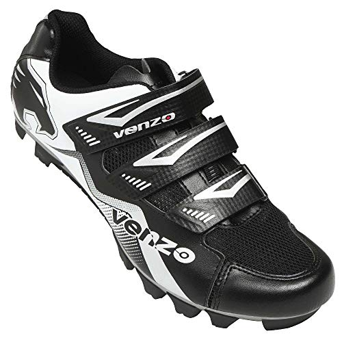 Venzo Mountain Bike Bicycle Cycling Compatible with Shimano SPD Shoes Black 48