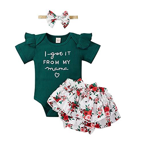 Conjunto de 3 piezas de ropa causal de verano con volantes y falda de flores y diadema con lazo