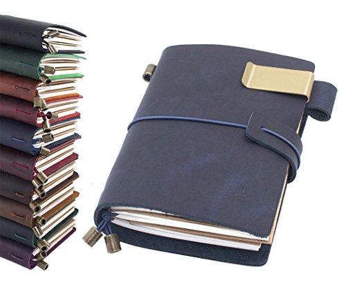 Diario de piel, hecho a mano, vintage, recargable, cuaderno de viaje, regalo para hombres y mujeres, 13,5 x 10,1 cm, color azul