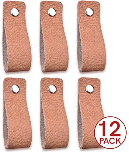 Lederen handgrepen meubel, natuurlijk, 12 stuks, lederen handvat voor kasten, keuken en deur, levering met schroeven in 3 kleuren