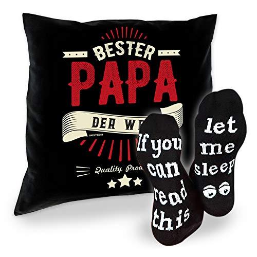 SO-GmbH - Set de regalo para papá, cojín y calcetines, regalo de cumpleaños, Navidad, día del padre, color negro