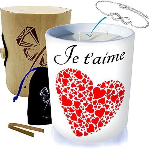ArtGosse - Vela con 2 mechas de flor de cerezo con joya decorada con cristales de Swarovski® • Caja de regalo con caja de madera + pinza de bambú + bolsita + pulsera Infinity