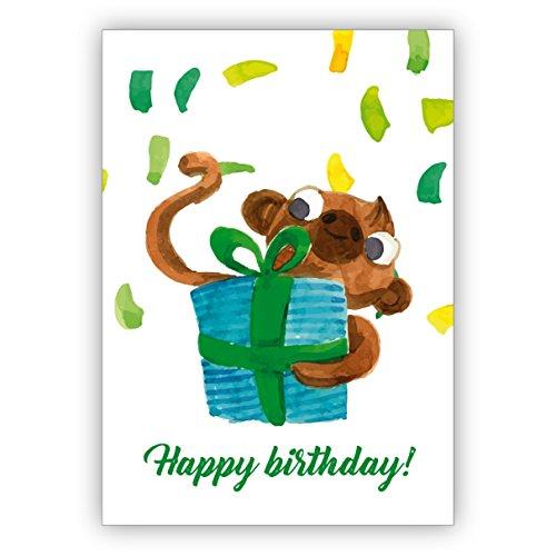 Coole geschilderde verjaardagskaart met kleine apen en geschenk en confetti: Happy birthday • mooie wenskaarten met enveloppen voor beste vrienden en lievelingsmensen. 1 Grußkarte multicolor