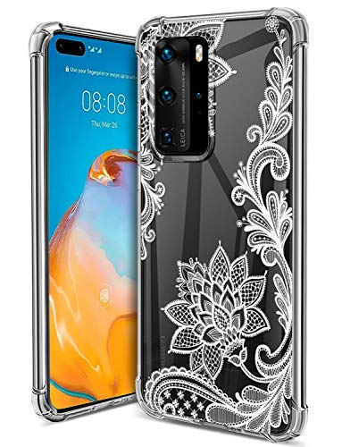 Floral Clear Huawei P40 Pro Case for Women Girls,GREATRULY Pretty Phone Case for Huawei P40 Pro,Flower Design Slim Soft Transparent Drop Proof TPU Bumper Cushion Silicone Cover Shell,FL-S