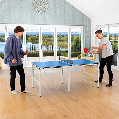 Vermont Mini Table Tennis Table – Professional Indoor/Outdoor Midi Ping Pong Table   Bats & Ping Pong Balls Included   6ft Foldable Table + Table Tennis Set