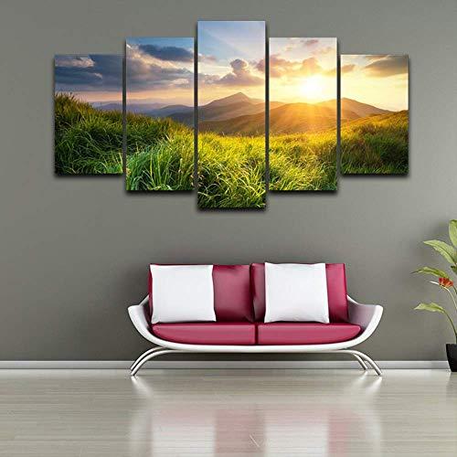 DGGDVP Impression sur Toile Peinture décor à la Maison 5 pièces Mountain Valley Prairie Pendant Le Coucher du Soleil Nature Paysage Affiche modulaire Wall Art Photos Taille 2 avec Cadre