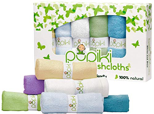 Pupiki Premium Baby Washcloths 6 Ultra-Soft Hypoallergenic 100% Organic Bamboo from Rayon Fiber Baby Bath Washcloth Face Towels Absorbent 10X10 Newborn Towel Pack Unisex Baby Shower Multicolor.