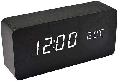 Qoosea Reloj Despertador LED Reloj de Alarma de Madera ...