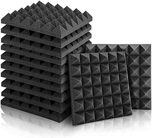 Akustikschaumstoff, 12 Stück Schaumstoff Pyramiden für Podcasts, Aufnahmestudios, Büros, Heimkino,Akkustikschaumstoffmatten(30 x 30 x 5 cm) (Schwarz)