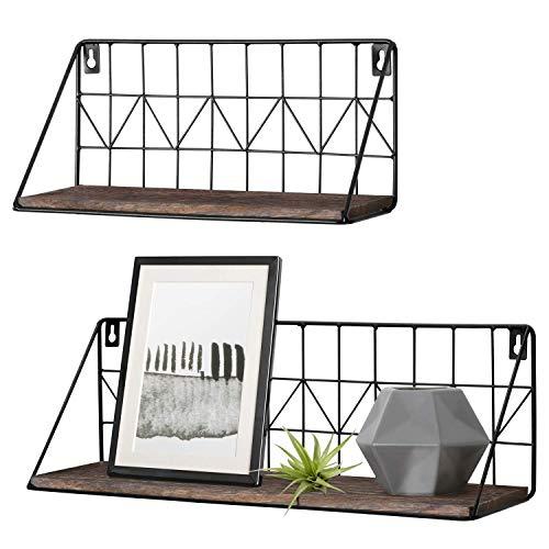 Mkouo Wandmontierte schwebende Regale Rustikale Aufbewahrungsregale aus Metalldraht Gestelle Anzeigen Wohnkultur