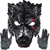 Realistic Werewolf Mask Big Bad Bloody Howling Wolf Costume with Bloodstains Include Gloves for Adult Halloween Dress Up. Black