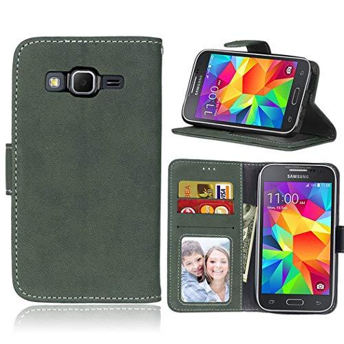 Ycloud Portafoglio Custodia per Samsung Galaxy Core Prime G360 Smartphone, Opaca Texture PU Pelle Magnetica Flip Caso Cover con Fessura Carte e Funzione Staffa (Verde)