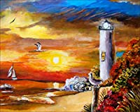 5Dダイヤモンドペインティングツールキット-日没時のビーチの灯台-DIYダイヤモンドラインストーンペインティングツールキット大人の初心者ダイヤモンドクラフト家の装飾40 * 50CM