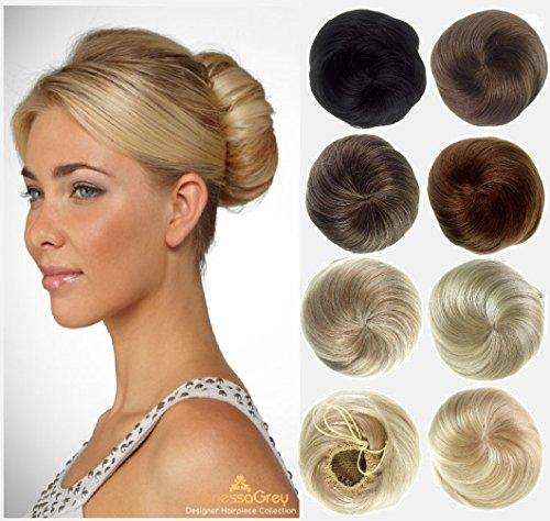 Vanessa Grey Hair Extensions, Super Bun - 30% plus gros Chignon, Look Des Années 60 - Marron Moyen