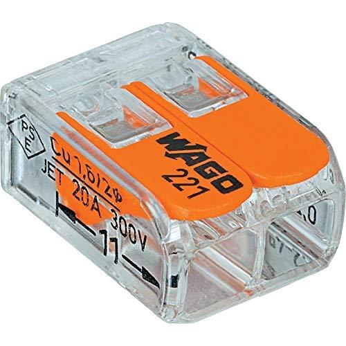 WAGO 221XP-412 Terminales de conexión macho de 2 conductores con palancas de paro, diseño compacto, 221-412