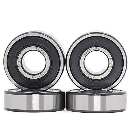 6201-2RS 12 x 32 x 10 mm, rodamiento de doble junta de goma, torno ABEC-5 preengrasado, rodamientos de bolas Deep Groove (paquete de 4 unidades)