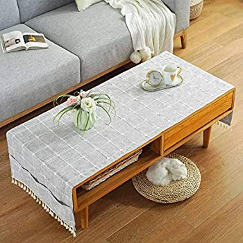 Linen Coffee Tablecloth with Pockets Rectangular Tea Table Cloth Cover Washer Dryer Top Covers Fridge Dust Cover  Light Gray-A