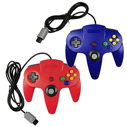 Pomilan 2 packs Game gaming pad console Controllers For N64 - Red and Blue