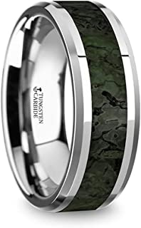 Thorsten Tyrion Polished Flat Style Tungsten Carbide Wedding Ring with Dark Green Dinosaur Bone Inlay and Polished Beveled Edges Comfort Fit Lightweight Durable Wedding Band Rings - 8mm