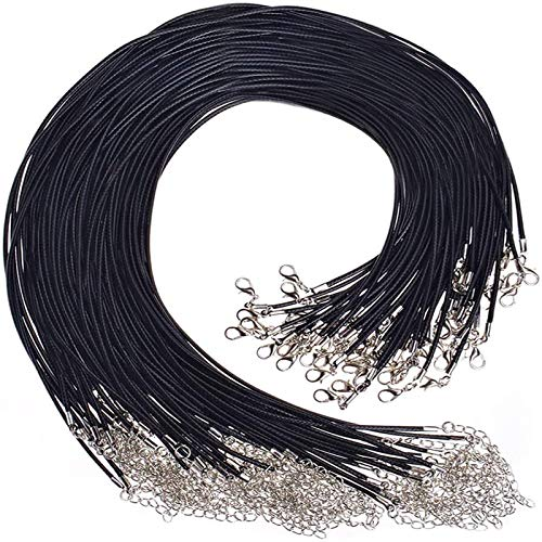Angelikashalala 100Pcs 18' Black Necklace Chain Waxed Necklace Cord for DIY Jewelry Making