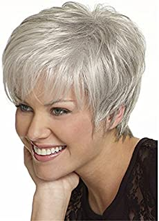 YX Women's Short Fluffy Wavy Silver White Synthetic Wigs