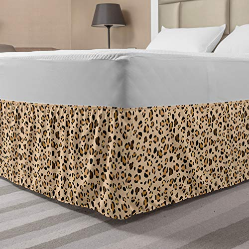 Ambesonne Leopard Bed Skirt, Abstract Exotic Wildlife Safari African Animal Camo Spots Illustration, Elastic Bedskirt Dust Ruffle Wrap Around for Bedding Decor, Queen, Pale Peach Ecru Umber
