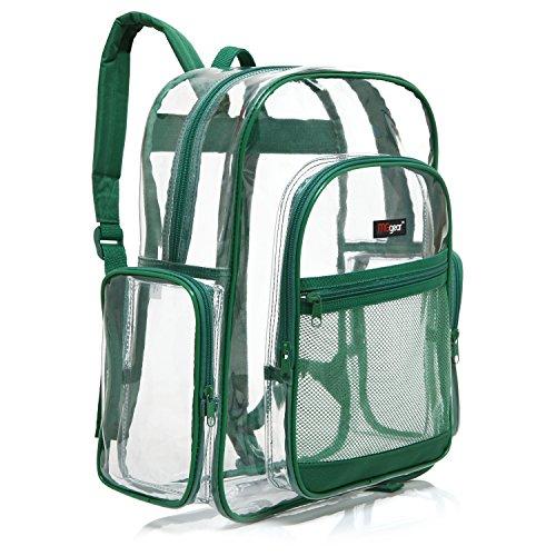 MGgear Transparent PVC Book Bag, Clear Kids School Backpack, Green Trim