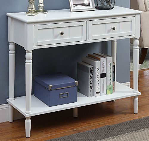 Convenience Concepts French Country Two Drawer Hall Table, White