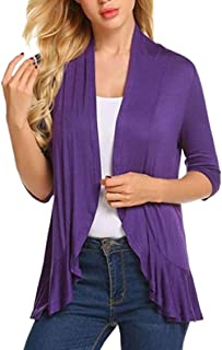 Women's Jacket 3/4 Sleeve Open - Front Coat Solid Ruffle Cardigan