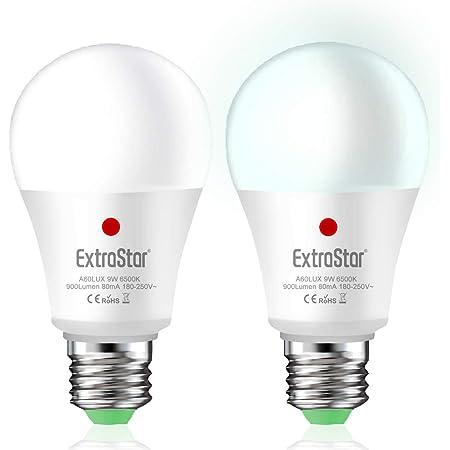 Bombilla con Sensor Crepuscular, EXTRASTAR Bombillas E27 LED Sensor, 9W Equivalente a 72W, Luz fría 6500k, Amanecer hasta el Atardecer Encendido/Apagado Automático, Para Camino, Jardín 2 piezas