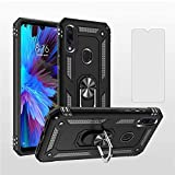 AsuwishPhoneCaseDesignedfor Xiaomi Redmi Note 7/7s/7Pro Cases with TemperedGlass ScreenProtector and Magnetic Ring Holder Stand Kickstand SlimShockproof Xiami Xiomis Xiome Redme Note7 Pro Black