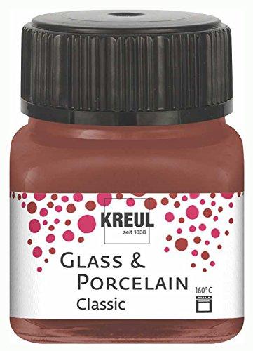 Kreul 16229 - Glass und Porcelain Classic, brillante Glas- und Porzellanmalfarbe auf Wasserbasis, schnelltrocknend, deckend, 20 ml im Glas, cognac