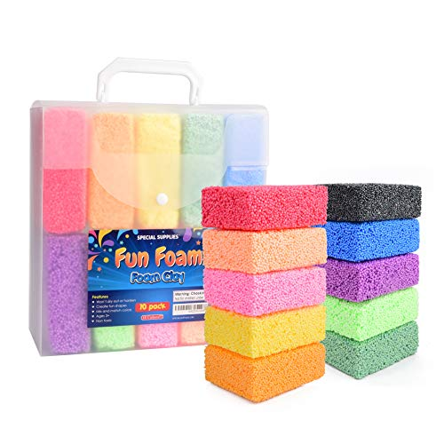 Special Supplies Fun Foam Modeling Foam Beads Play Kit, 10 Blocks Children's Educational Clay for Arts Crafts Kindergarten, Preschool Kids Toys Develop Creativity, Motor Skills