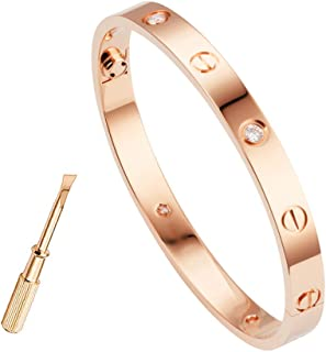 Love Bracelet,Stainless Steel Cuff Bangle,Titanium Steel Screws,Mens Womens Bracelet,foy Boys and Girls,Jewelry 18 K Gold Plated Rose Gold Bangle