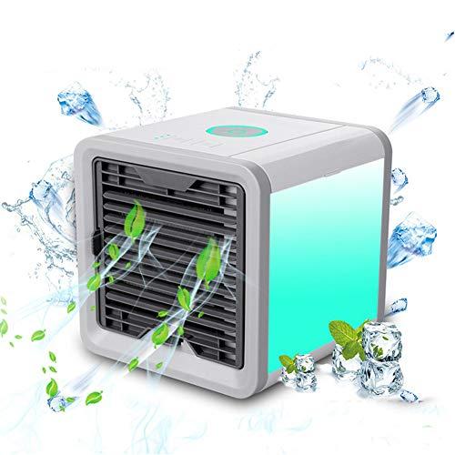 ASSDITED Mini Enfriador de Aire, Espacio Personal 3 en 1 USB Mini Escritorio Aire Acondicionado y Humidificador 7 Colores Purificador Evaporativo para Oficina, Hogar, Dormitorio, Viajes